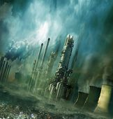 stock photo of smog  - Composition of futuristic city with huge factory covered in dark clouds and smog pollution - JPG