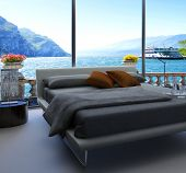 stock photo of master bedroom  - Fantastic bedroom interior with grey bed with bedsheets against huge window with panoramic view - JPG