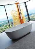 Awesome nature style bathroom interior with modern bathtub and shower cubicle decorated with reeds /
