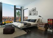 image of stool  - Modern bedroom interior with huge windows and vintage furniture - JPG