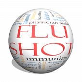 pic of flu shot  - Flu Shot 3D Sphere Word Cloud Concept with great terms such as rx needle prevention inject medicine and more - JPG