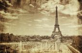 stock photo of street-art  - Vintage Sepia Picture of Tour Eiffel  - JPG
