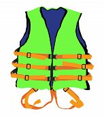 stock photo of life-boat  - design of green life jacket for safety life in water - JPG