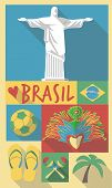 stock photo of world-famous  - vector illustration set of famous cultural symbols of brazil on a poster or postcard - JPG
