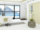 image of shower-cubicle  - Modern bathroom interior with light green wall - JPG