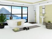pic of shower-cubicle  - Modern bathroom interior with light green wall - JPG