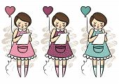 foto of centerpiece  - Little girl with a heart shaped balloon and love letter standing pose love romantic Valentine - JPG