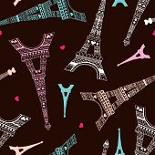picture of amour  - Seamless romantic valentine eiffel tower amour city background pattern in vector - JPG