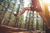 stock photo of jumping  - Runner jumping on trail run in forest for marathon fitness - JPG