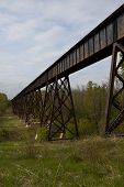 stock photo of trestle bridge  - A railroad bridge crossing a wooded ravine - JPG