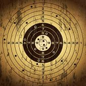 stock photo of shooting-range  - Target with bullet holes over grunge background - JPG