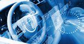 stock photo of steers  - Digital image of car steering wheel with icons - JPG