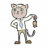 picture of dead mouse  - cartoon business cat with dead mouse - JPG