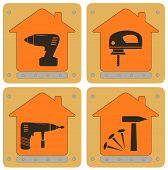 planch icons with house and tools