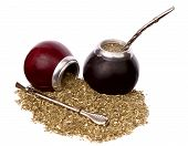 stock photo of calabash  - Yerba mate and mate in calabash isolated on white background - JPG