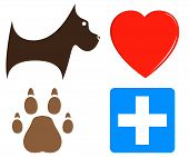 picture of chums  - set cartoon veterinary icons for pet help - JPG