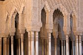 stock photo of harem  - Moorish arches and columns of Alhambra harem in Granada - JPG