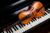 stock photo of string instrument  - Violin and piano close up close up - JPG