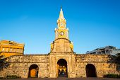 picture of india gate  - The historic clock tower gate is the main entrance into the old city of Cartagena Colombia - JPG