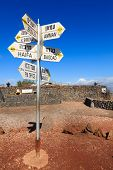 foto of golan-heights  - Directions sign on Mount Bental on the border between Israel and Syria - JPG