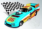 pic of dragster  - Vector illustration of a dragster and flag - JPG