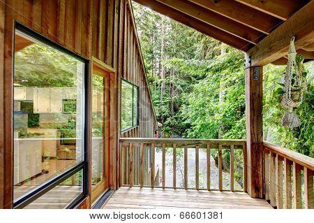 Walkout Deck In Log Cabin House