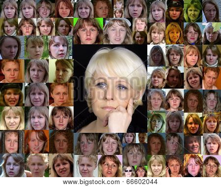 Young Caucasian woman over several yea rs of time