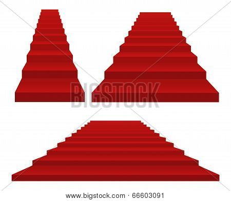 Set Of Red Staircases