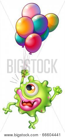 Illustration of a monster with colourful balloons on a white background