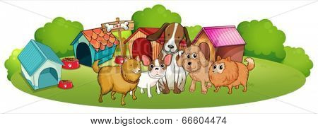 Illustration of the cute dogs outside the doghouses on a white background