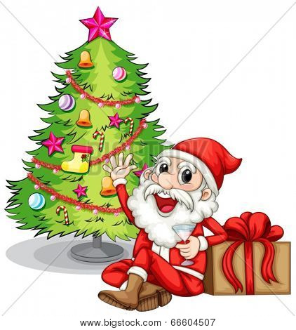 Illustration of a happy Santa near the christmas tree on a white background