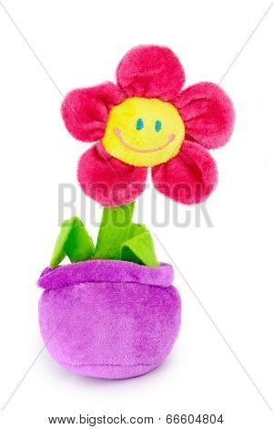Soft plush toy flower in the pot