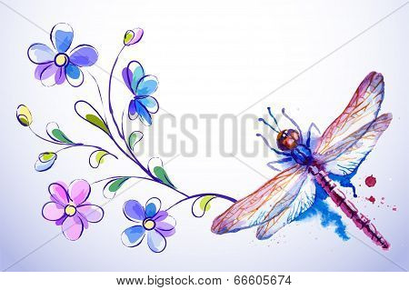 Horizontal Card With Dragonfly And Blue Flowers