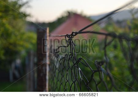 Old barbed fence in the garden