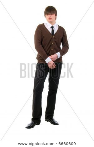 Young Adult Casual Man With Closed Eyes. Studio Shoot Over White Background.