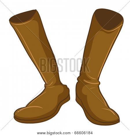 Illustration of a pair of a fashionable brown boots on a white background