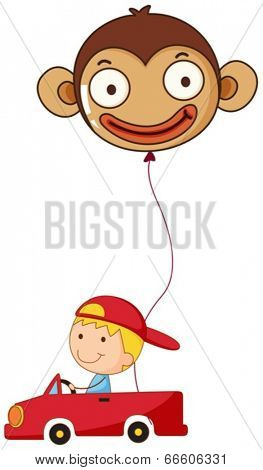 Illustration of a red car with a boy and a monkey balloon on a white background