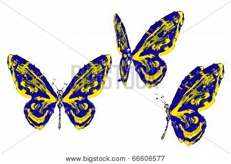 Blue And Yellow Paint Made Butterfly Set
