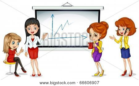 Illustration of the girls near the bulletin board on a white background