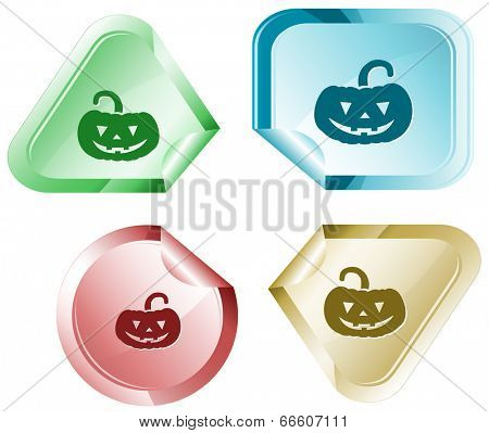 Pumpkin. Raster sticker.