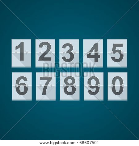 Set of numbers for mechanical scoreboard.