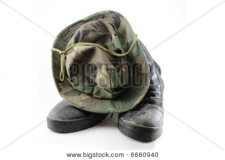 Camouflage Hat And Boots.