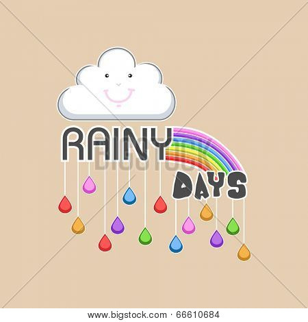 Happy cloud with rainbows and hanging colourful raindrops on brown background, concept for Rainy Days Season.