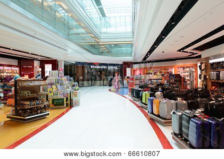 DUBAI, UAE - MARCH 31: duty free zone in airport on March 31, 2014 in Dubai. Dubai International Airport is a major airline hub in the Middle East, and is the main airport of Dubai.