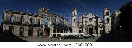 HAVANA, CUBA - JANUARY 30, 2011: Panoramic view of Plaza de la Catedral in Old Havana is Catedral San Cristobal, built between 1748 and 1777.