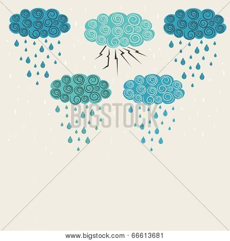 Different weather signs of Monsoon with blue clouds on beige background, showing thunderstorm, lightning, medium and heavy rainy weathers.