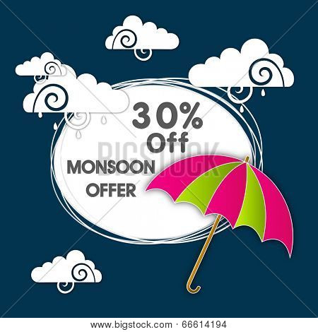 Stylish 30% Off, Monsoon Offer sticker, tag or label design with colourful open umbrella and clouds on blue background.