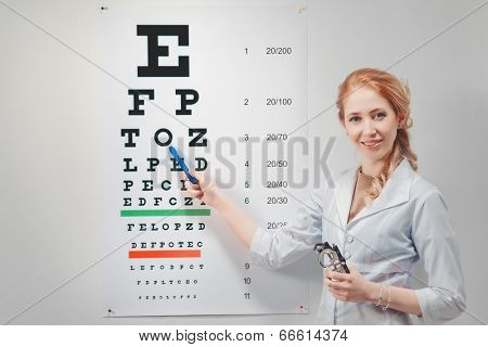 Cute woman doctor - ophthalmologist shows eyesight test chart for eye tests