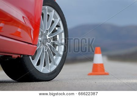 sport wheel and cone