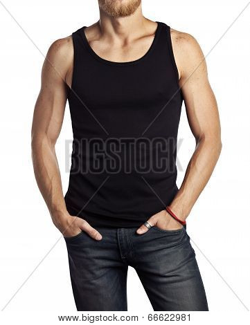Man wearing black vest